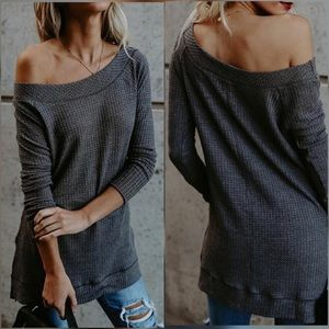 Tops - New Arrival !! Charcoal Soft Knit Boatneck thermal